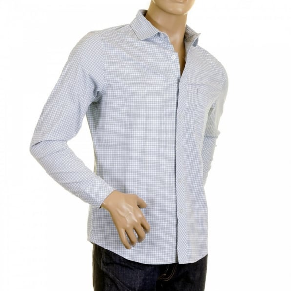 RMC MKWS Mens Sky Blue Check Penny Collar Long Sleeve Regular Fit Shirt