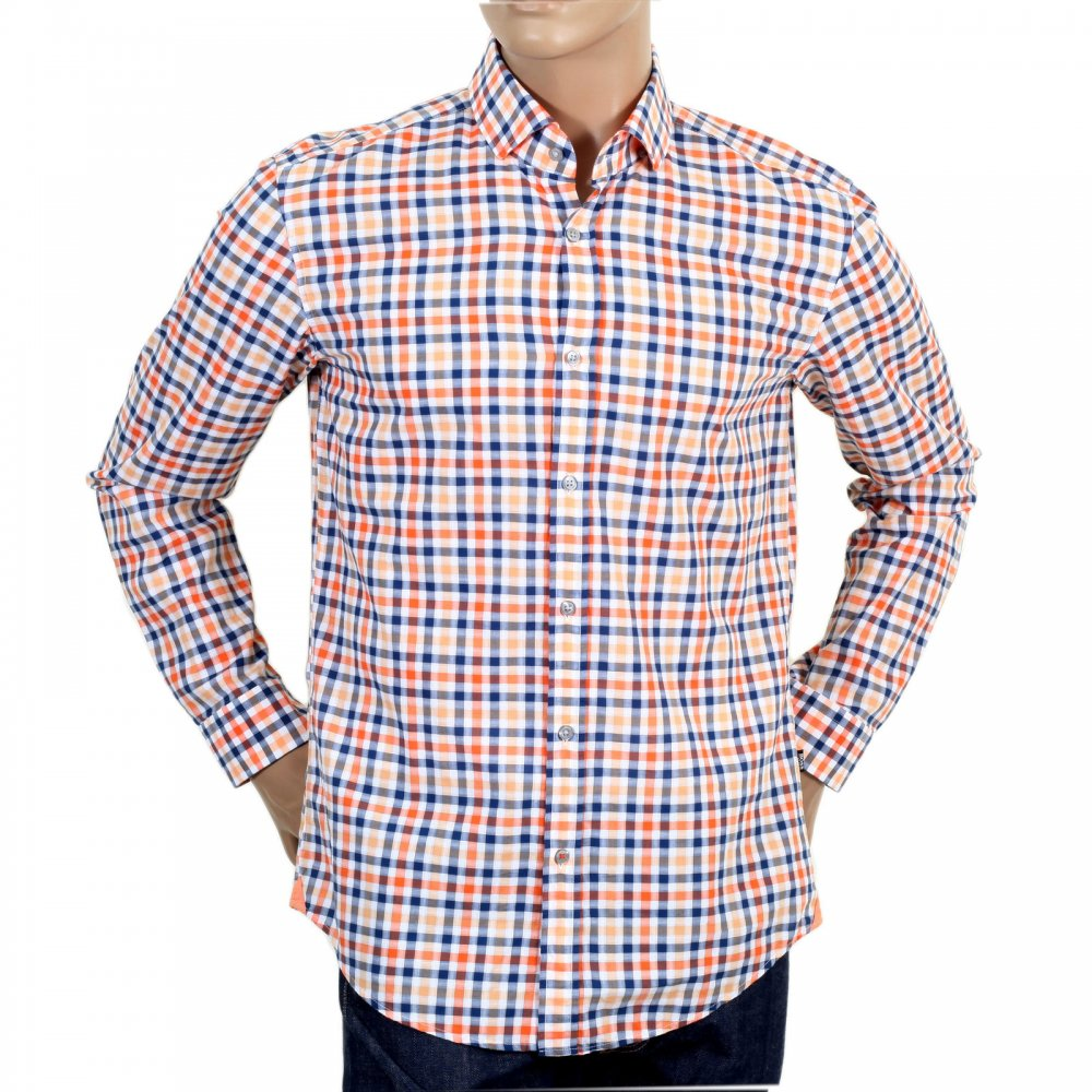 Mens Orange White And Blue Checked Shirt By Boss Black