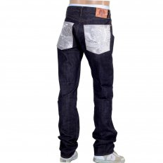 Mens Slimmer Cut Indigo Raw Selvedge Japanese Denim Jeans with Silver Bushi Embroidery