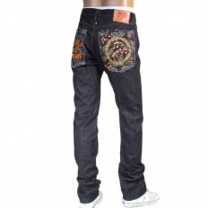 Mens Slimmer Cut Japanese Indigo Raw Selvedge Denim Jeans with No Music No Life Embroidery