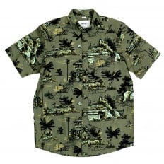 Mens Slimmer Fit Homerun Printed Green Cotton Short Sleeve Shirt with Single Chest Pocket by Carhartt