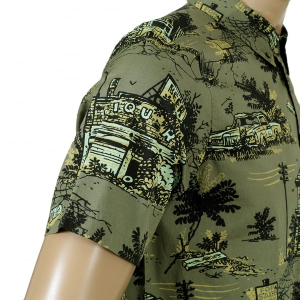 CARHARTT Mens Slimmer Fit Homerun Printed Green Cotton Short Sleeve Shirt with Single Chest Pocket by Carhartt