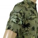 CARHARTT Mens Slimmer Fit Homerun Printed Green Cotton Short Sleeve Shirt with Single Chest Pocket by Carhartt