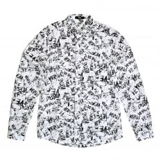 Mens Slimmer Fit Long Sleeve White Shirt with Black Versus Graffiti Print with Soft Pointed Collar by Versace