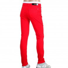 Mens Stretch Cotton Slim Fit Jeans in Red with Lion Head Studs