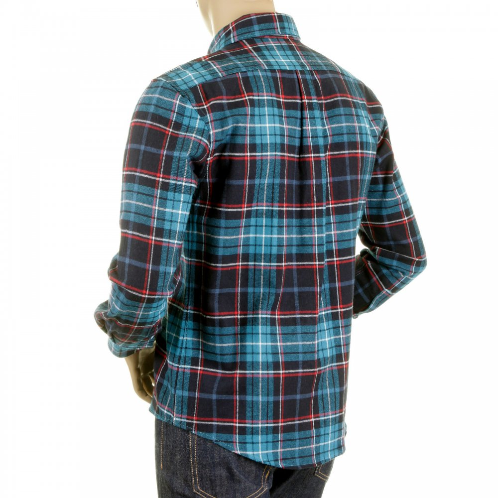 Turquoise Cotton Flannel Shirts For Men By Rmc Clothing