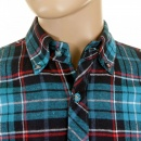 RMC MKWS Mens Turquoise Check Button down Collar Long Sleeve Regular Fit Shirt