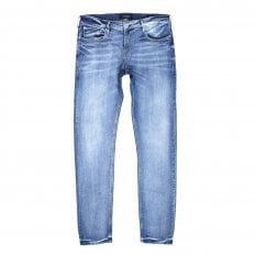 Mens TYE Atomic Rush 135106 Scotch & Soda Stretch Slim Carrot Fit Washed Blue Denim Jeans with Fading and Creasing