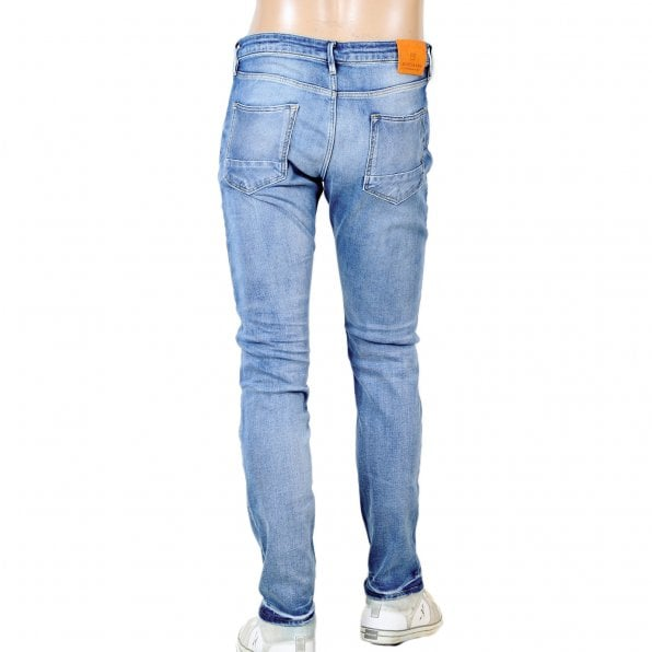 SCOTCH & SODA Mens TYE Atomic Rush 135106 Scotch & Soda Stretch Slim Carrot Fit Washed Blue Denim Jeans with Fading and Creasing