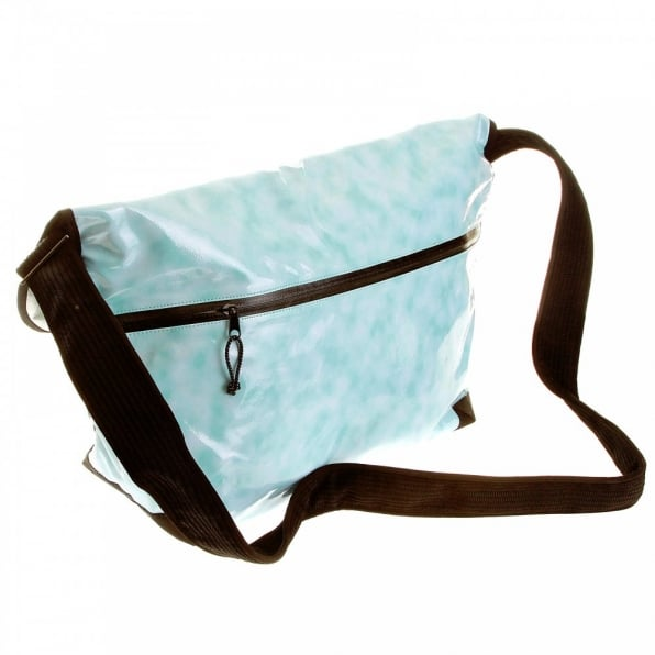 RMC MKWS Mens Unisex Aqua Blue PVC Coated Canvas Shoulder Cyclist Fashion Bag