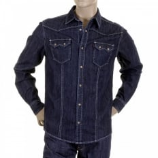 Mens Washed Denim Long Sleeve Regular Fit Shirt