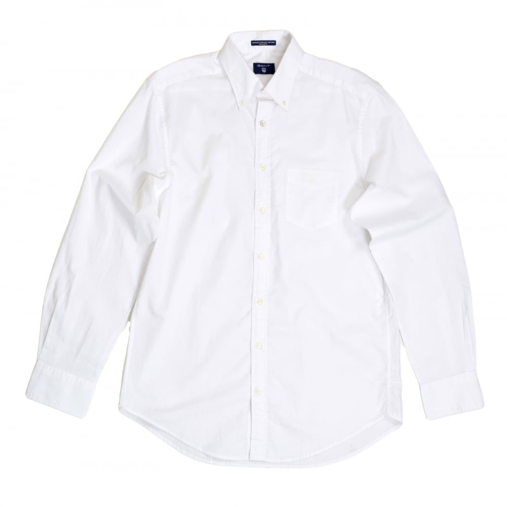 dc1bc4bc5f ... GANT Mens Washed Pinpoint Oxford Regular Fit Long Sleeve White Cotton  Shirt with Button Down Collar ...