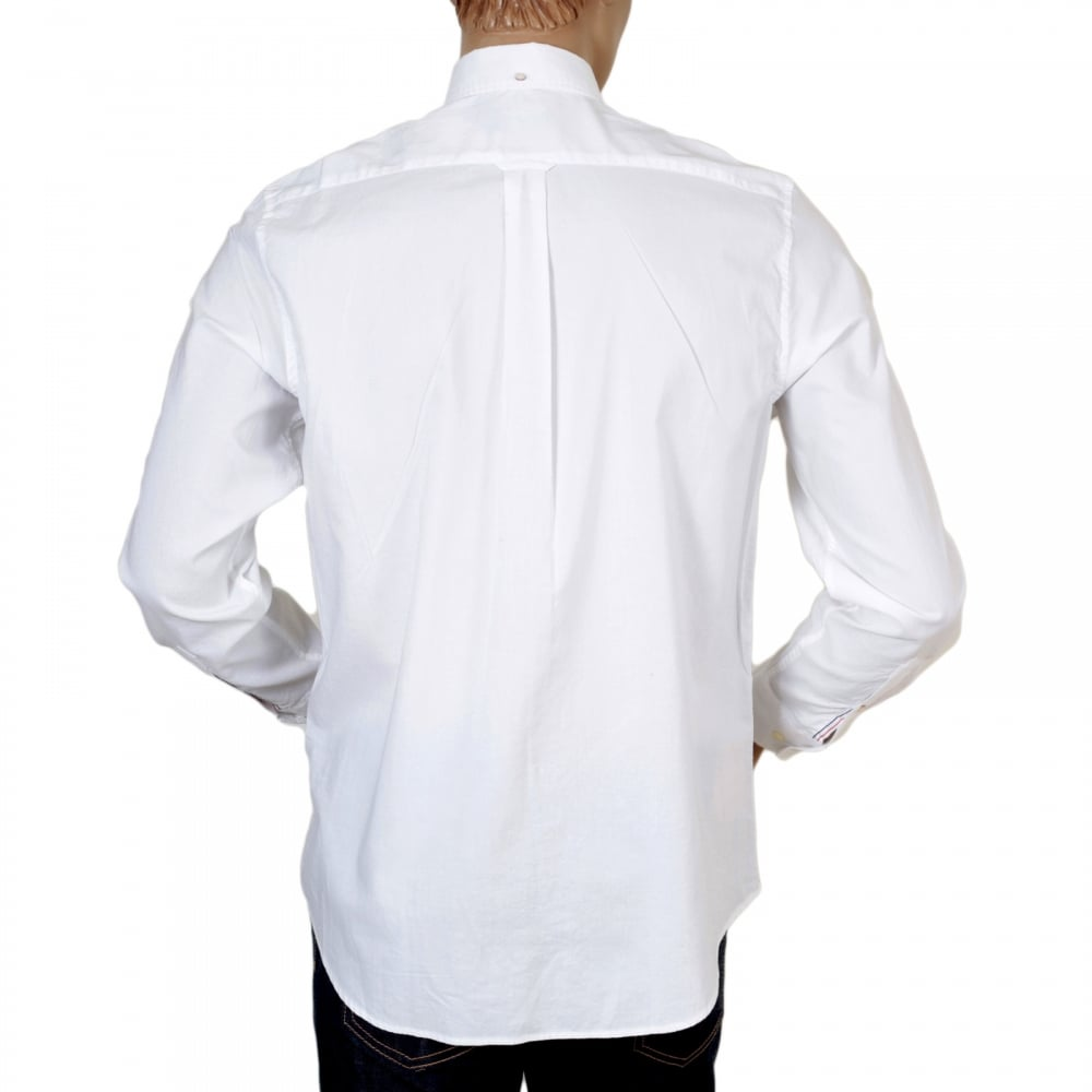 ... GANT Mens Washed Pinpoint Oxford Regular Fit Long Sleeve White Cotton  Shirt with Button Down Collar