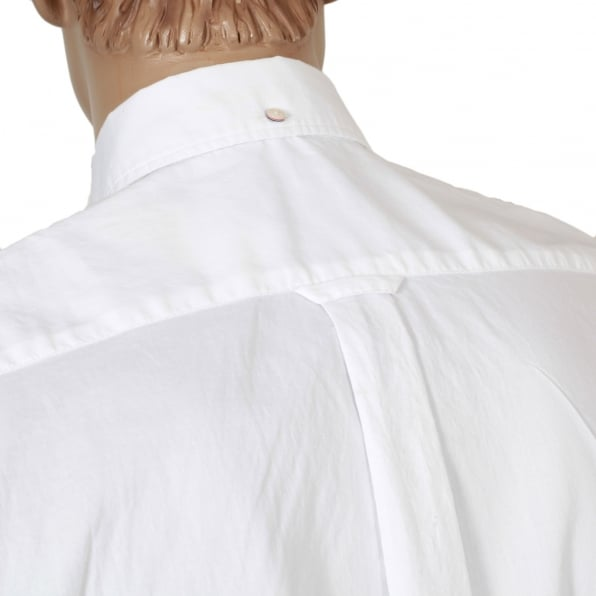 GANT Mens Washed Pinpoint Oxford Regular Fit Long Sleeve White Cotton Shirt with Button Down Collar by Gant
