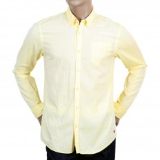 Mens Washed Yellow Cotton Button down Collar Long Sleeve Shirt