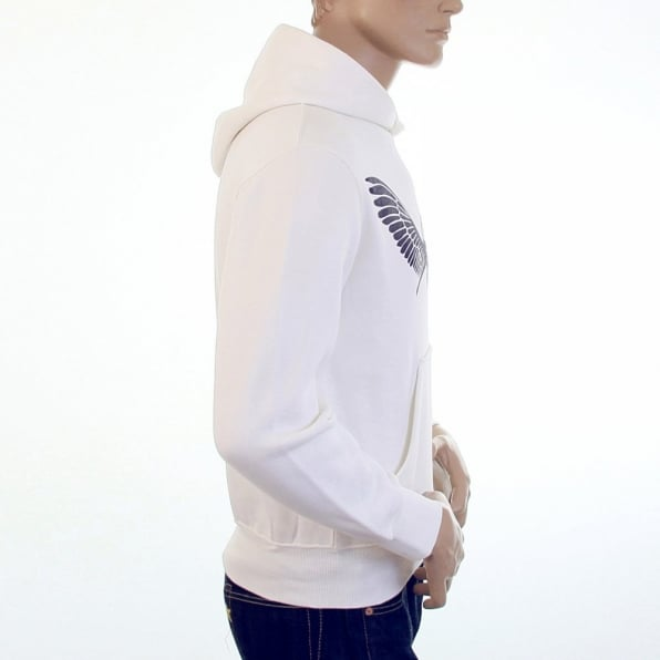 RMC JEANS Mens White Over Head Large Fitting Hooded Sweatshirts