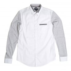 Mens White Stretch Cotton Extra Slim Fit Casual Shirt with Grey Long Sleeves by Armani Jeans AJM4673
