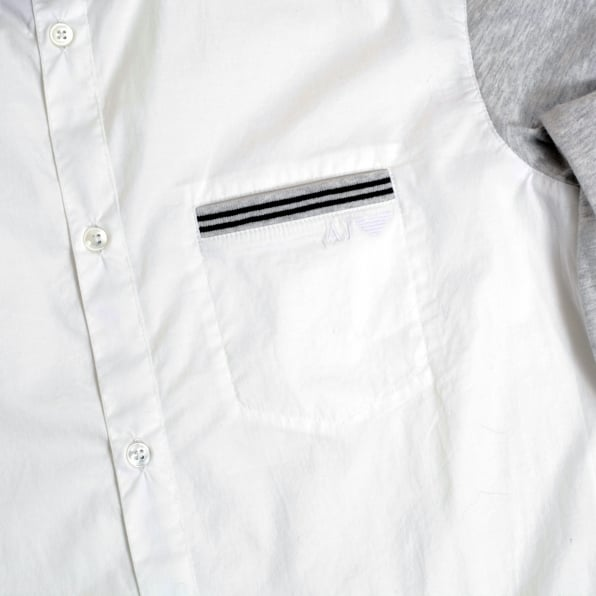 ARMANI JEANS Mens White Stretch Cotton Extra Slim Fit Casual Shirt with Grey Long Sleeves by Armani Jeans AJM4673