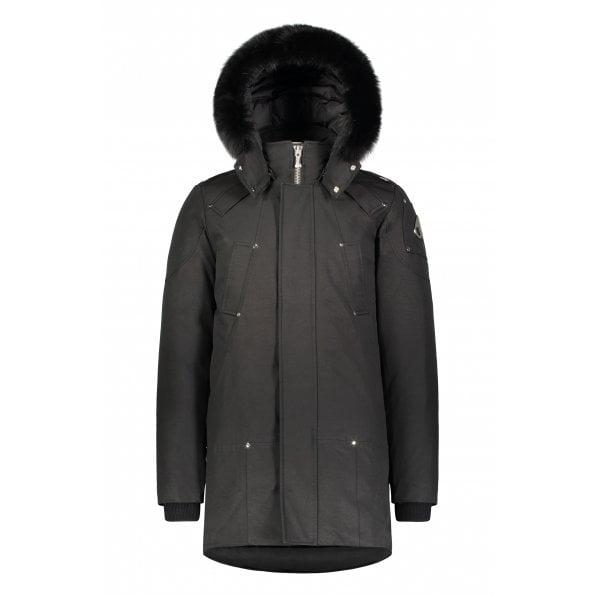 MOOSE KNUCKLES Black Stirling Parka with Black Fur