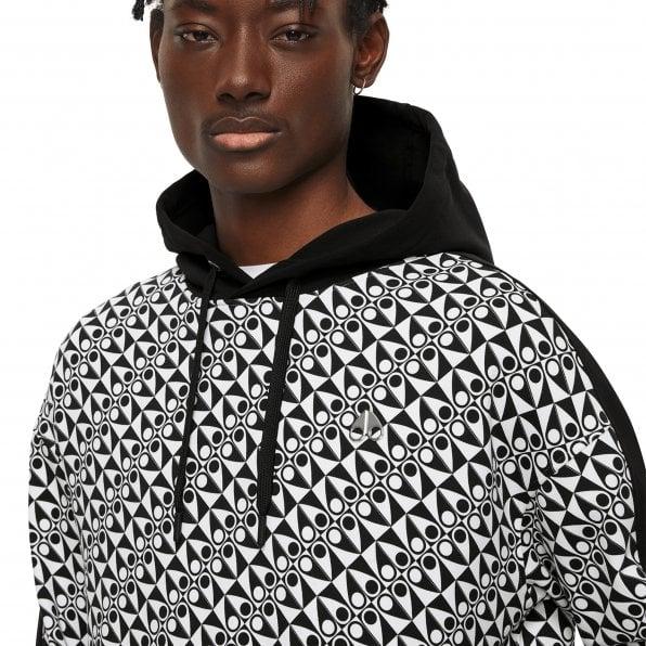 MOOSE KNUCKLES Mens Black Checkerboard print Static Pullover Hoodie