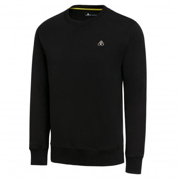 MOOSE KNUCKLES Mens Black Greyfield Crewneck Sweatshirt