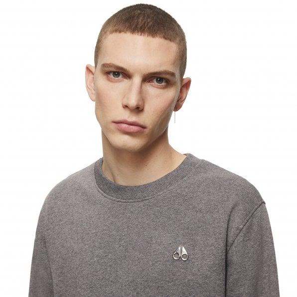 MOOSE KNUCKLES Mens Charcoal Greyfield Crewneck Sweatshirt