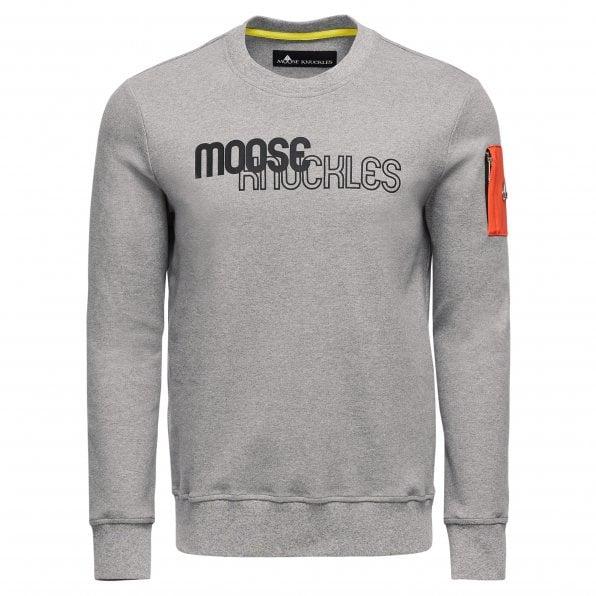 MOOSE KNUCKLES Mens Charcoal Mix Media Transit Crewneck Pullover