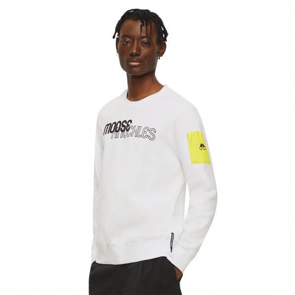 MOOSE KNUCKLES Mens White Mix Media Transit Crewneck Pullover