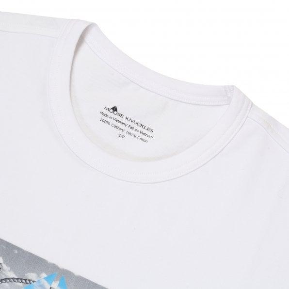 MOOSE KNUCKLES Mens White Prairie T Shirt