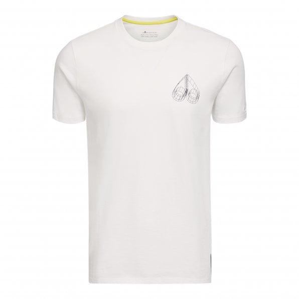 MOOSE KNUCKLES Mens White Set It Off Crewneck T-Shirt