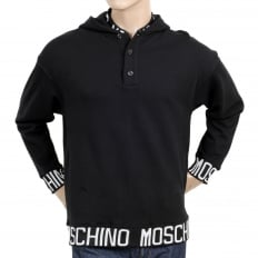 Black 3 Button Regular Fit Hooded Sweatshirt with Woven Text Logo on Ribbed Collar, Waistband, and Sleeve Cuffs