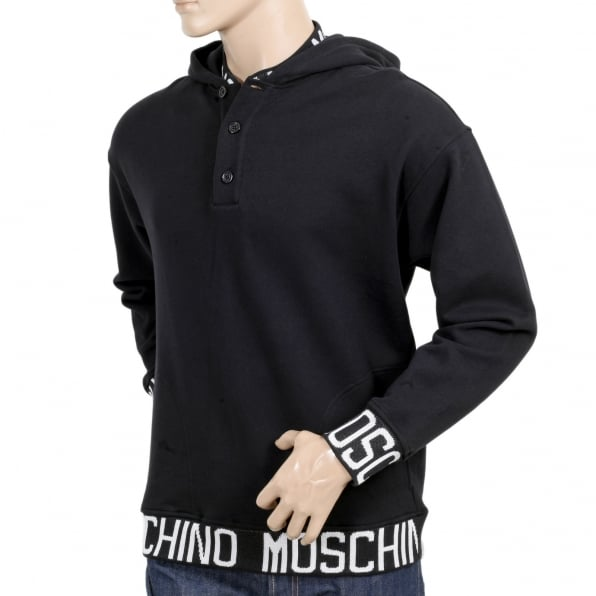 MOSCHINO Black 3 Button Regular Fit Hooded Sweatshirt with Woven Text Logo on Ribbed Collar, Waistband, and Sleeve Cuffs