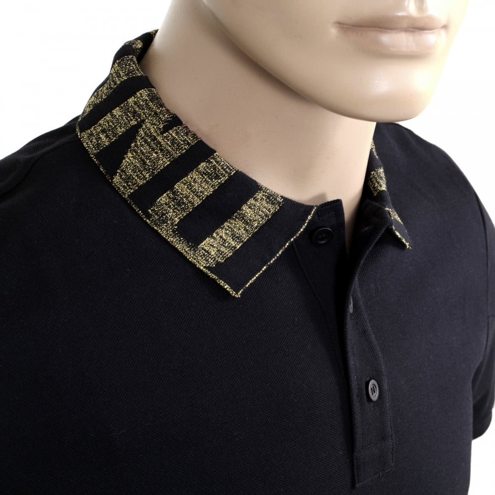 Cotton black polo shirt for men by moschino clothing for Three button collar shirts
