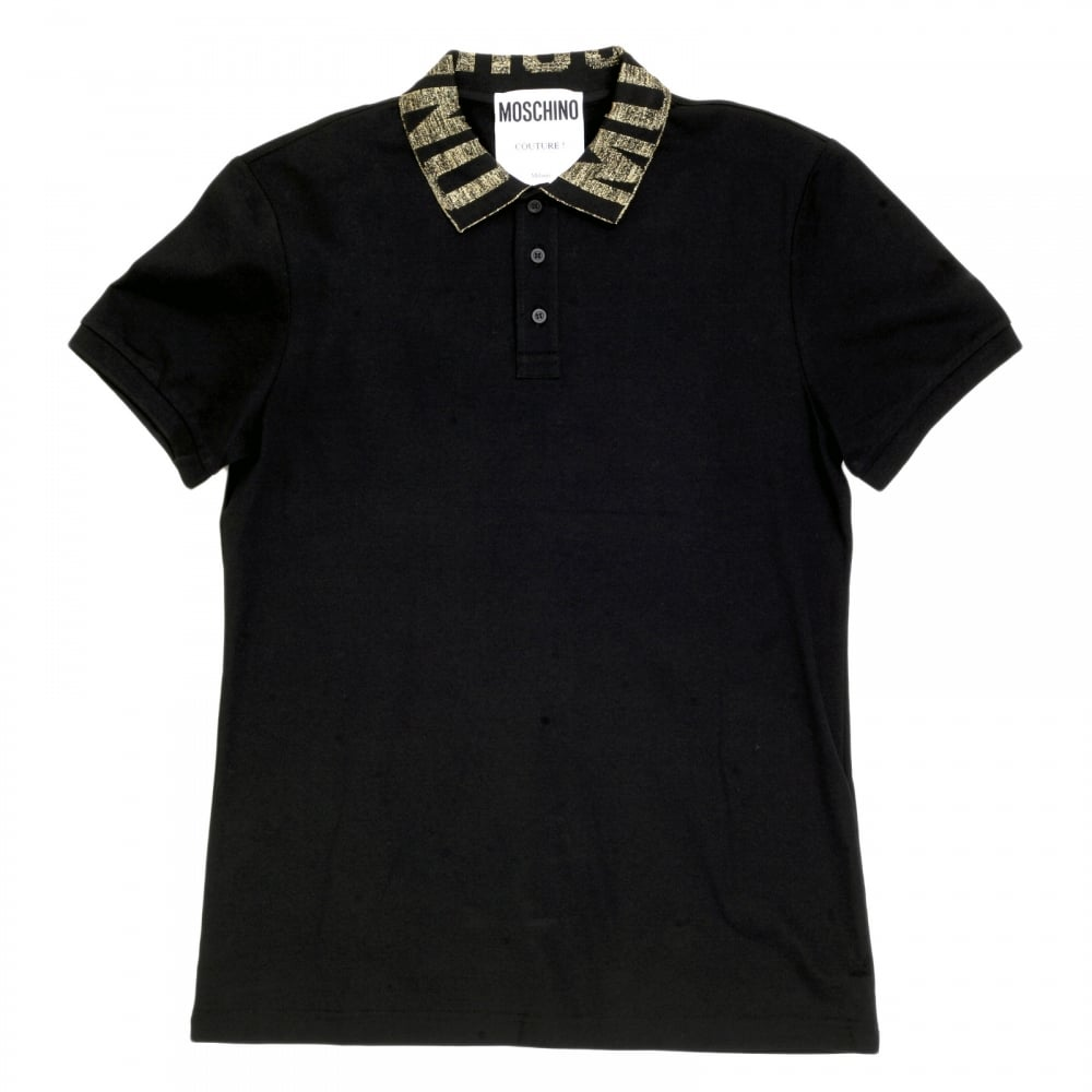 Cotton Black Polo Shirt For Men By Moschino Clothing