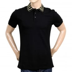 Black Regular Fit Three-Button Polo Shirt for Men with Gold Logo Ribbed Collar