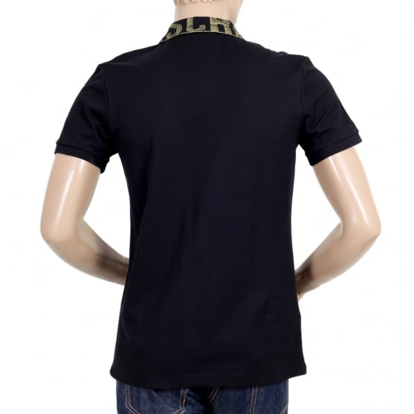 MOSCHINO Black Regular Fit Three-Button Polo Shirt for Men with Gold Logo Ribbed Collar