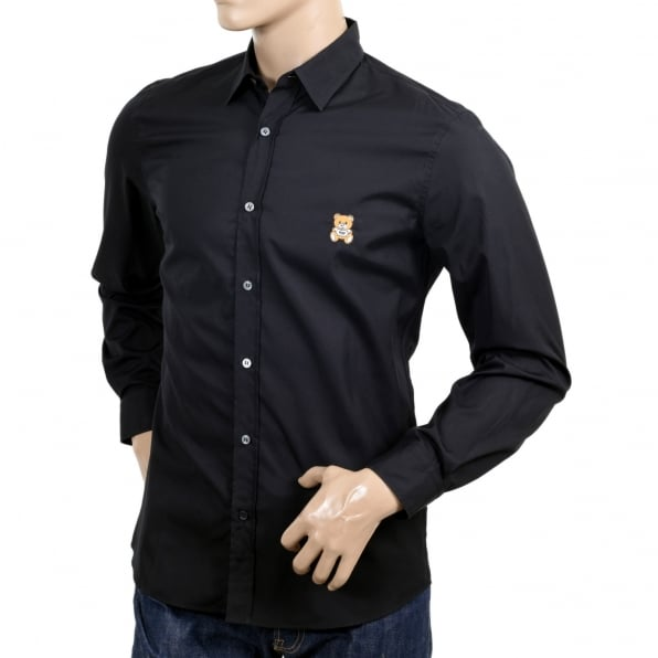 MOSCHINO Long Sleeve Cotton Slim Fit Teddy Bear Embroidered Black Shirt with Rounded Tail and Soft Collar