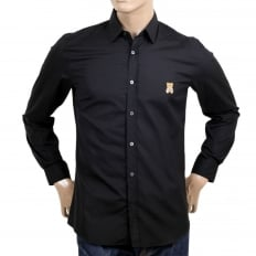 Long Sleeve Cotton Slim Fit Teddy Bear Embroidered Black Shirt with Rounded Tail and Soft Collar