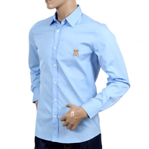 MOSCHINO Long Sleeve Slim Fit Teddy Bear Embroidered Sky Blue Shirt with Soft Collar and Rounded Tail
