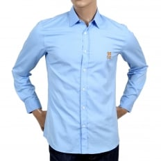 Long Sleeve Slim Fit Teddy Bear Embroidered Sky Blue Shirt with Soft Collar and Rounded Tail