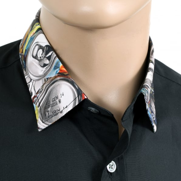 MOSCHINO Mens Black Regular Fit Cotton Short Sleeve Shirt with Grey Embossed Logo Buttons and Soft Collar