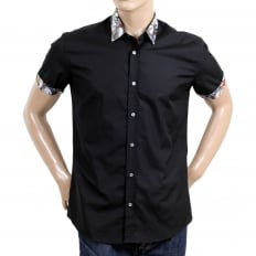 Mens Black Regular Fit Cotton Short Sleeve Shirt with Grey Embossed Logo Buttons and Soft Collar