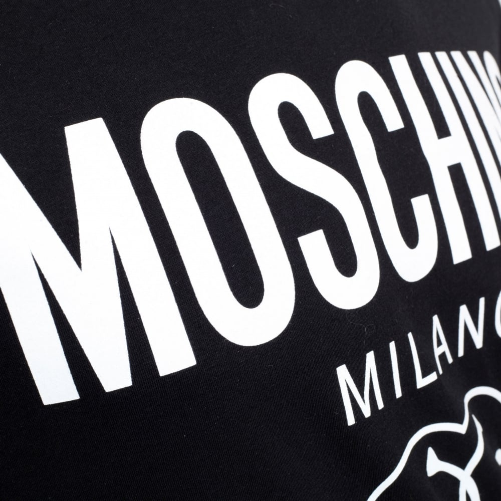 a008b3338 ... MOSCHINO Mens Black Regular Fit Short Sleeve Crew Neck T shirt with  Printed Milano Logo ...