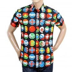 Mens Black Short Sleeve Multi Coloured All Over Smiley Face Printed Shirt with Soft Collar and Rounded Tail