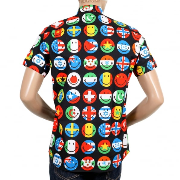 MOSCHINO Mens Black Short Sleeve Multi Coloured All Over Smiley Face Printed Shirt with Soft Collar and Rounded Tail