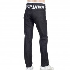 Mens Black Washed Stretch Comfort Denim Jeans