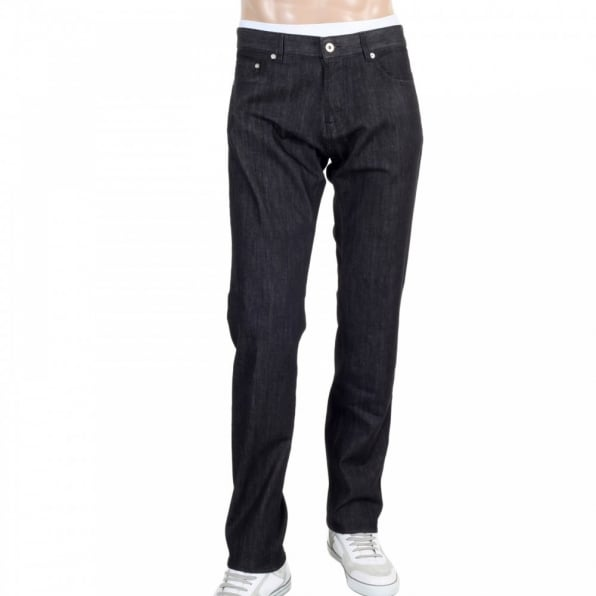 MOSCHINO Mens Black Washed Stretch Comfort Denim Jeans