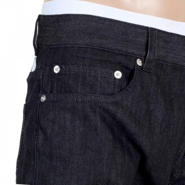 MOSCHINO Mens Black Washed Stretch Comfort Denim Jeans