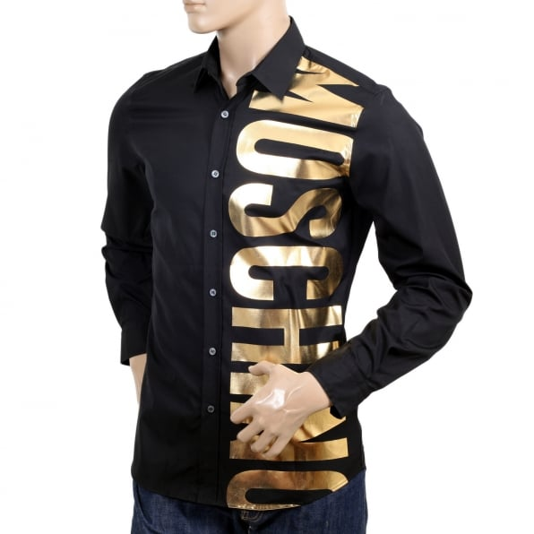 MOSCHINO Mens Cotton Long Sleeve Black Shirt with Gold Logo in Large Fonts on the Front