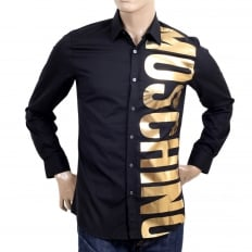 Mens Cotton Long Sleeve Black Shirt with Gold Logo in Large Fonts on the Front